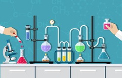 Medical Laboratory. Research, testing, studies in chemistry, physics, biology. laboratory equipment. Hands of doctor with pipette and test tube. Vector illustration flat design.
