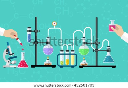 Medical Laboratory. Research, testing, studies in chemistry, physics, biology. laboratory equipment. Hands of doctor with pipette and test tube. Desktop research. Vector illustration, flat design.
