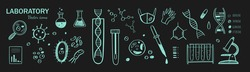 Medical Laboratory research vector hand drawn icons set. Different elements: chemical test, dna, bacteria, virus, blood test etc.
