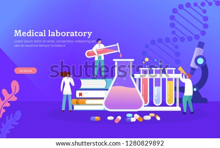 Medical laboratory research with science glass est tube vector illustration concept, people por chemiceal liquid , can use for, landing page, template, ui, web, mobile app, poster, banner, flyer