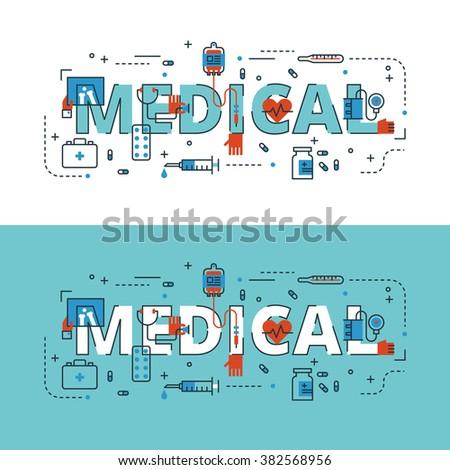 medical lettering flat line