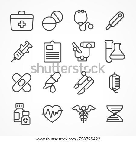 Medical line icons on white background, medicine symbols in grey, medical vector illustration