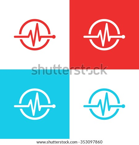 Medical logo concept. Health care design element. Heartbeat icon. ECG line in circle isolated. Vector illustration