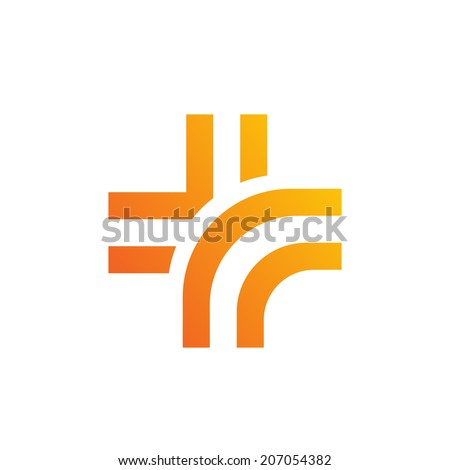 Medical logo design template icon with cross Vector color sign with plus symbol