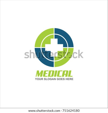medical logo design with cross element vector template