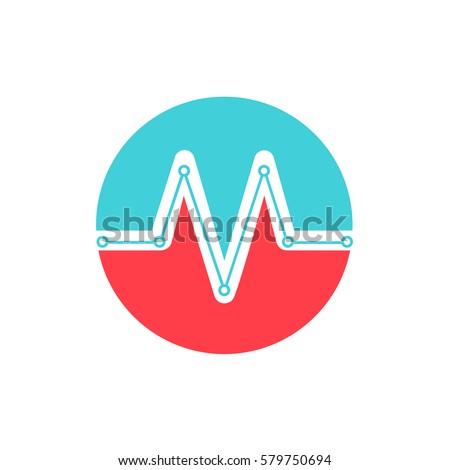 Medical logo Letter M cardio