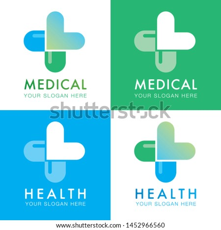 medical logo marks with a cross of hearts and tablets or pills for pharmacies, clinics and hospitals