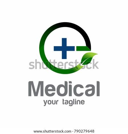 Vector nature medical logo, green leaf… Stock Photo 424880233