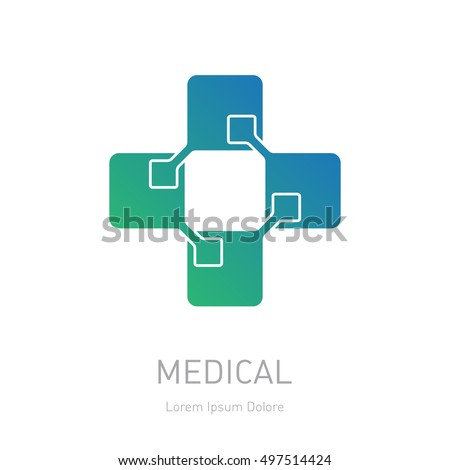 Medical logotype, design element or icon for the pharmacy or health centre. High-tech medicine logo.