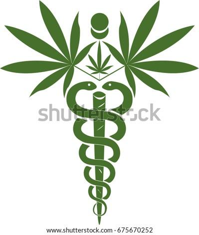 Medical Marijuana, Cannabis Medical Symbol Icon Illustration