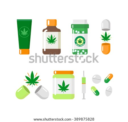 Medical marijuana icons: . Vector illustration.