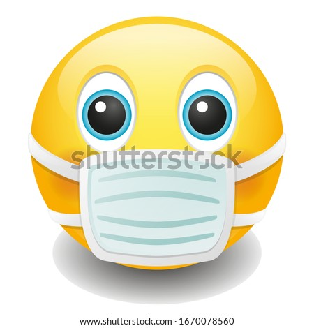 Medical Mask Emoji Kawaii Face. Vector Design Art Trendy Communication. Chat Elements. Doctor Virus Protection.