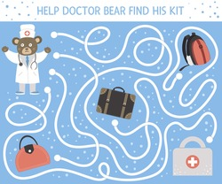 Medical maze for children. Preschool medicine activity. Funny puzzle game with cute doctor bear and lost first aid kit. Help the doctor find his bag