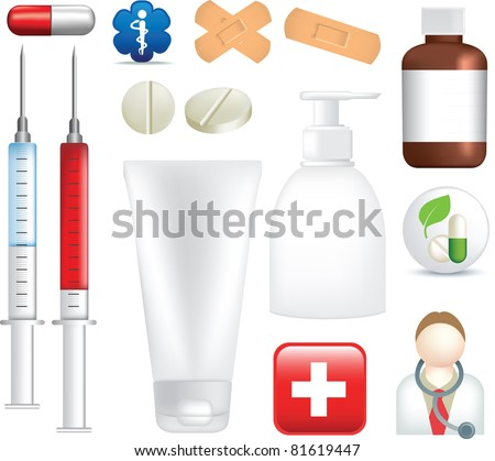 medical, medicine, equipment, pills and medicine illustrations on white