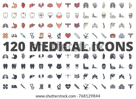 Medical Medicine Organs Icon pack colored and silhouette