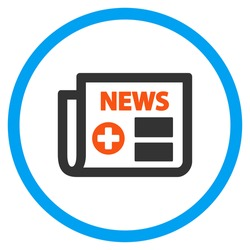 Medical Newspaper vector icon. Style is flat circled symbol, orange and blue colors, rounded angles, white background.