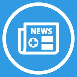 Medical Newspaper vector icon. Style is flat circled symbol, white color, rounded angles, blue background.