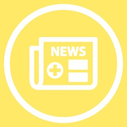 Medical Newspaper vector icon. Style is flat circled symbol, white color, rounded angles, yellow background.