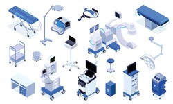 Medical operating room equipment furniture devices isometric set with patient monitoring system surgical table lights vector illustration