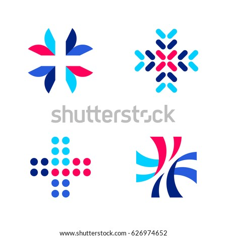 Medical or pharmacy logo mark templates or icons with cross