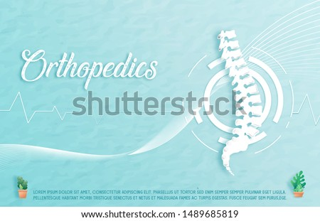 Medical orthopedic spine paper texture in the green-blue background. Treatment for orthopedic traumatology. Medical health care presentation, hospital. Vector illustration