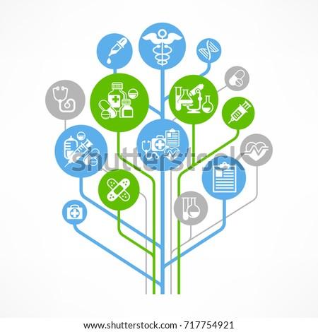 Medical outline concept, medicine symbol and hospital unit relationship. Vector illustration.