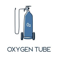 medical oxygen tank set with nasal cannula minimalist hand drawn medic flat icon illustrartion