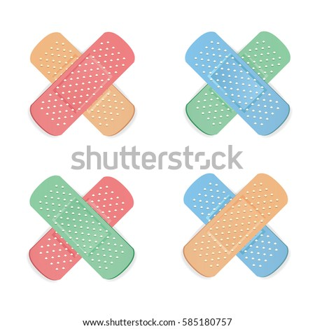 Medical Patch Vector. First Aid Band Plaster Strip Medical Patch Icon Set. Two Sides. Different Plasters Types. Realistic Illustration Isolated On White Background