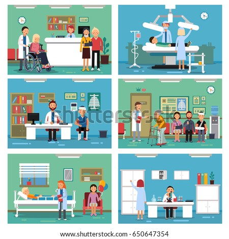 Medical personnel at work. Nurse doctor and patients in hospital interiors. Vector illustration.