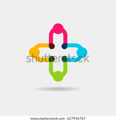 Medical pharmacy association logo design template, health and charity community icon. People or kids in cross shape logotype. Plus sign vector   ストックフォト ©