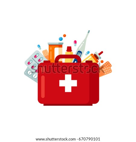 Medical pills, bottles, patch and thermometer set isolated on white background. Isolated objects in flat style. Vector illustration.