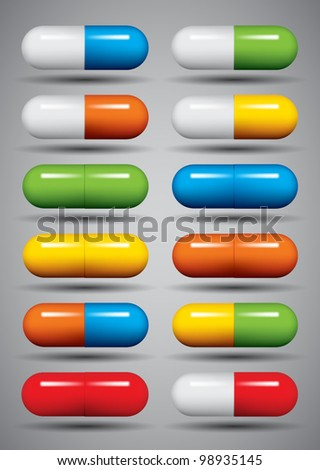medical pills set  different