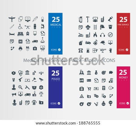 Medical police fire service money icons stock vector