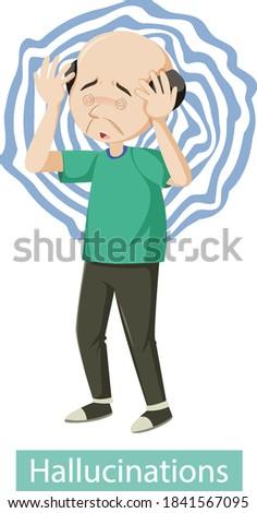 Medical poster showing hallucinations symptoms illustration Stockfoto ©