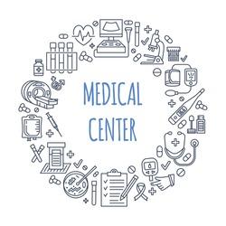 Medical poster template. Vector line icon, illustration of health center, check up. Medical equipment - mri, cardiogram, glucometer, doctor, ultrasound, blood test. Healthcare banner design