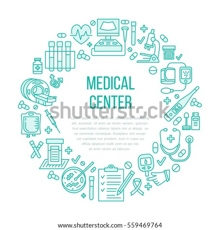 Medical poster template. Vector line icon, illustration of health check up center. Equipment - mri, cardiogram, glucometer, doctor, ultrasound, blood test. Healthcare banner design