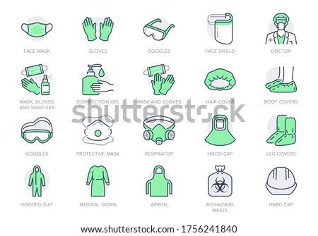 Medical PPE line icons. Vector illustration included icon as face mask, gloves, doctor gown, hair cover, biohazard waste, outline pictogram of protective equipment. Editable Stroke, Green Color.