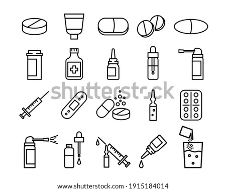 Medical preparats flat icon set. Pictogram for web. Line stroke. Isolated on white background. Vector eps10. Preparats for health care