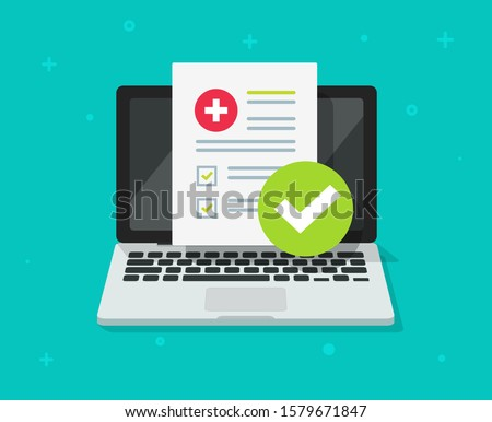 Medical prescription digitaldocument or online test results report on laptop computer screen vector illustration, pc with online healthy electronic check list from, distance internet medicine