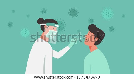 medical professional, doctor, or nurse doing Covid-19 or Coronavirus test or DNA test to a young man with nasal swab probe, cartoon character flat vector illustration