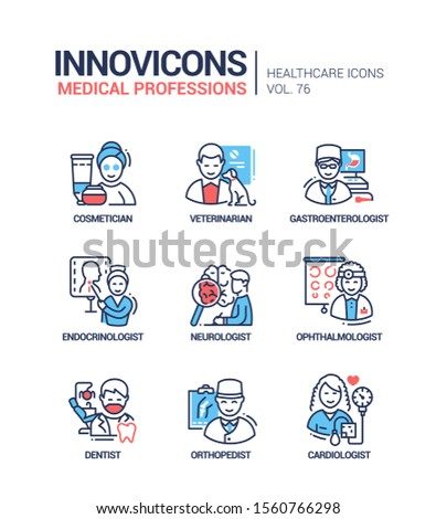 Medical professions line design style icons set. Doctors, specialists. Cosmetician, veterinarian, gastroenterologist, endocrinologist, neurologist, ophthalmologist, dentist, orthopedist, cardiologist