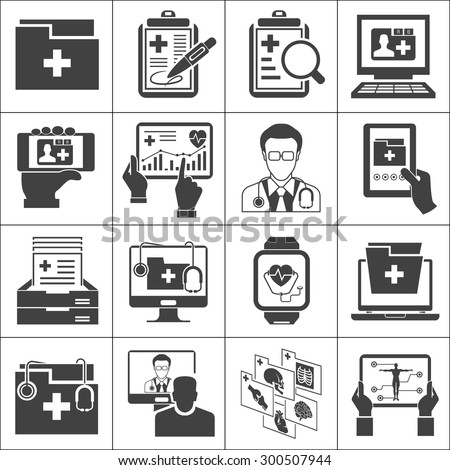 medical record icons sett