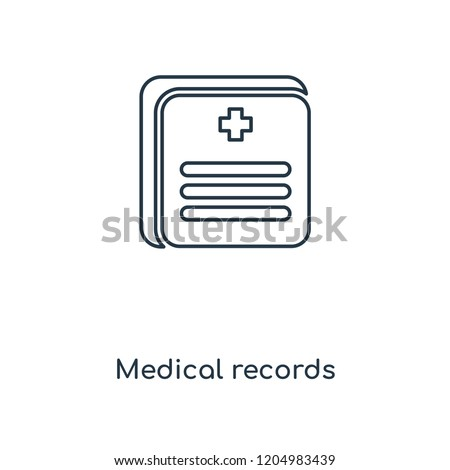 Medical records concept line icon. Linear Medical records concept outline symbol design. This simple element illustration can be used for web and mobile UI/UX.