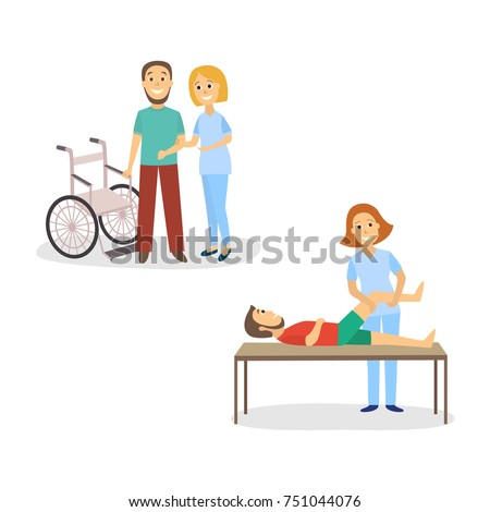 Medical rehabilitation, nurse helping patient stand from wheelchair and walk, physical therapy, cartoon vector illustration on white background. Medical rehabilitation, physical therapy after trauma