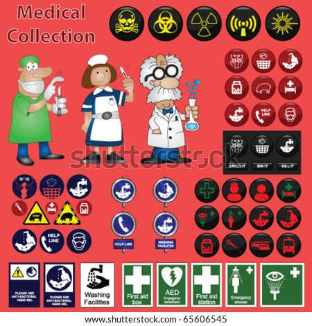 Medical related graphic collection including icons and cartoons