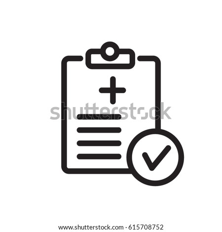 Medical Report line flat vector icon for mobile application, button and website design. Illustration isolated on white background. EPS 10 design, logo, app, infographic