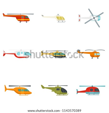 Medical rescue helicopter icons set. Flat illustration of 9 medical rescue helicopter vector icons isolated on white