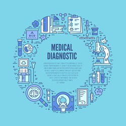 Medical research and healthcare design element. Medical illustration made in line style vector. Modern technology.
