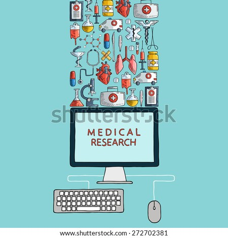 Medical research. Hand drawn health care and medicine icons with desktop computer. Vector illustration.