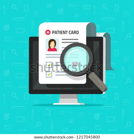 Medical research report online or contract vector, flat cartoon health or medical record paper or patient card document on computer, electronic medicine check list search, approved good test analyze